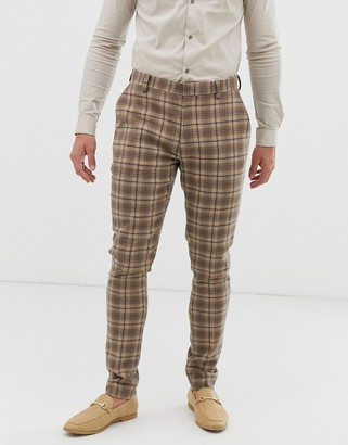 ASOS DESIGN wedding super skinny suit trousers in wool mix camel check