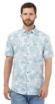 Mantaray Big And Tall Turquoise Tropical Leaf Print Shirt