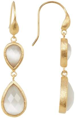 Rivka Friedman Faceted White Cat's Eye Crystal Double Teardrop Earrings