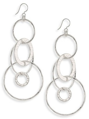Ippolita Classico Jumbo Sterling Silver Hammered Jet Set Earrings