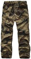 Yong Horse Men's Military Camouflage Elasticity Drawstring Waist Outdoor Cargo Pants