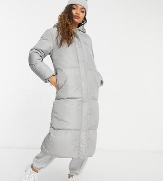 Threadbare Petite Jodie longline puffer coat in grey