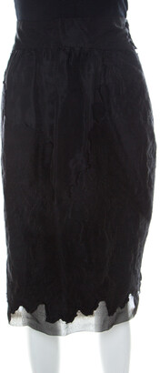 Fendi Black Silk & Wool Applique Knee Length Sheath Skirt L