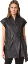 Zero Maria Cornejo Leather Kimono Wrap Gilet