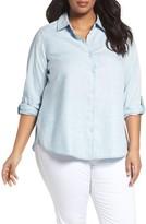 Foxcroft Plus Size Women's Roll Sleeve Stripe Tencel Shirt