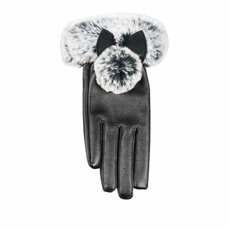 xuebinghualoll Women's Touchscreen Genuine Artificial Leather Gloves - Cashmere Lining Gloves Outdoor Driving Winter Cat Ears Warm Mittens Black