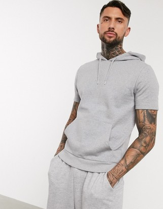 ASOS DESIGN organic short sleeve hoodie in gray marl