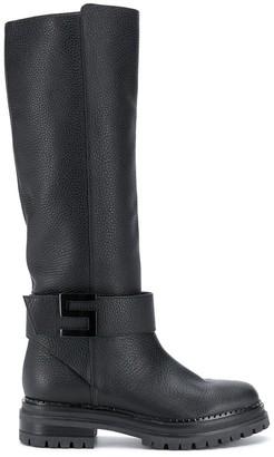Sergio Rossi Logomaniac knee-high boots