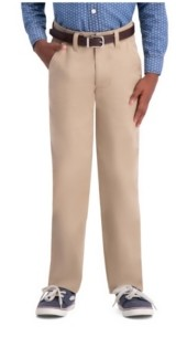 Haggar Husky Boys Chino, Slim Fit, Flat Front