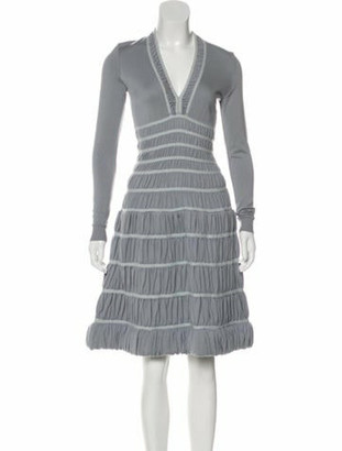Alaia Virgin Wool Knee-Length Dress blue