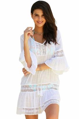 Voqeen Womens Lace Beach Cover Up Loose Beachwear Swimwear Bikini Cover-up Beach Dress White