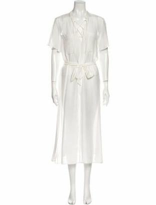 Frame V-Neck Knee-Length Dress w/ Tags White V-Neck Knee-Length Dress w/ Tags