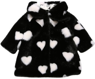 MonnaLisa Heart Print Faux Fur Coat