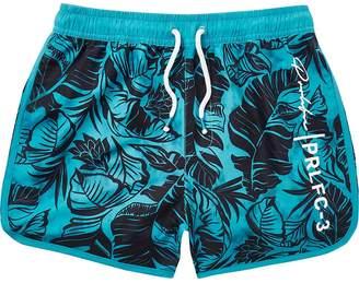 River Island Boys bright blue leaf print swim shorts