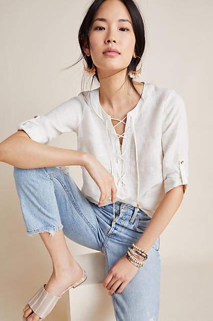 Maeve Marva Lace-Up Linen Blouse