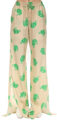 Lanvin Wide Leg Printed Silk Satin Pants