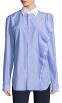 Maison Margiela Asymmetrical-Ruffle Cotton Shirt
