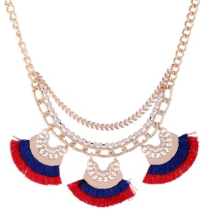 "GUESS Gold-Tone Crystal & Fringe Statement Necklace, 16"" + 2"" extender"