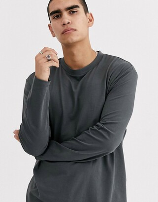 Asos DESIGN organic relaxed long sleeve t-shirt with crew neck in washed black