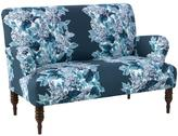 Rolled Arm Printed Settee - Blue