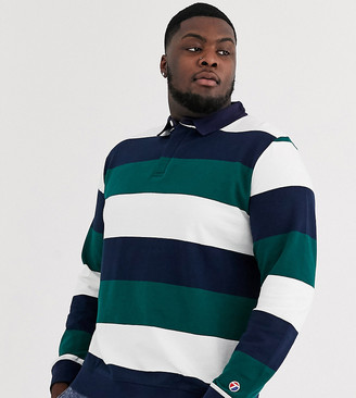 Topman Big & Tall rugby in teal stripe
