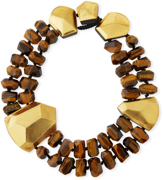 Viktoria Hayman Tiger's Eye & Golden Foil Statement Collar Necklace