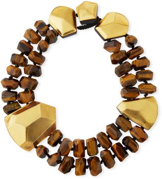Viktoria Hayman Tiger's Eye & Golden Foil Statement Collar Necklace
