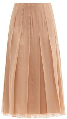 Gucci Pleated Chiffon Midi Skirt - Beige