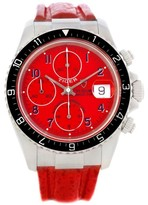 Tudor 79270 Tiger Woods Chronograph Steel Red Leather Strap Watch