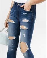Express Mid Rise Dark Wash Distressed Jean Legging
