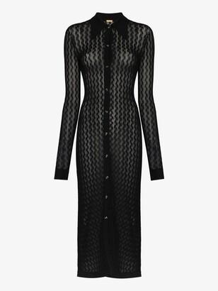 Dodo Bar Or Black June Pointelle Knit Midi Dress