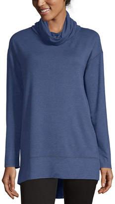 Liz Claiborne Weekend Womens Mock Neck Long Sleeve Tunic Top