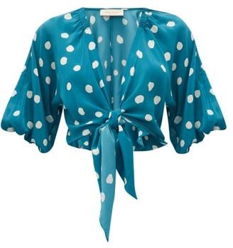 Adriana Degreas Polka Dot Tie Front Silk Top - Womens - Blue Print