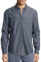 HUGO BOSS Herringbone-Print Cotton Sportshirt