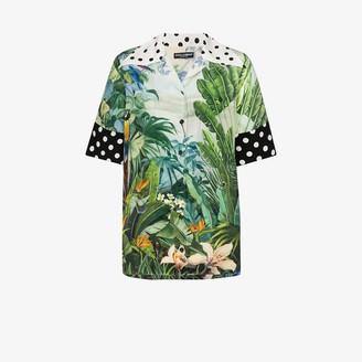 Dolce & Gabbana Mixed Tropical Print Oversized Short Sleeve Shirt