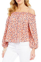 Copper Key Floral Print Off-The-Shoulder Long-Sleeve Smocked Top