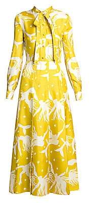 Valentino Women's Mermaid-Print Silk Midi Shirtdress