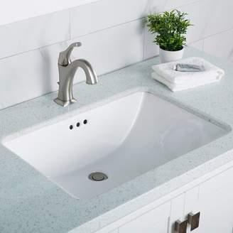 Kraus Elavo Ceramic Rectangular Undermount Bathroom Sink with Overflow Kraus