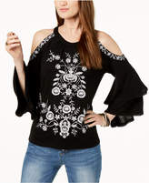 INC International Concepts I.n.c. Petite Embroidered Cold-Shoulder Top, Created for Macy's