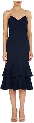ML Monique Lhuillier Sleeveless Crepe Midi Dress w/ Ruched Bodice Ruffled Tiers (Navy) Women's Dress