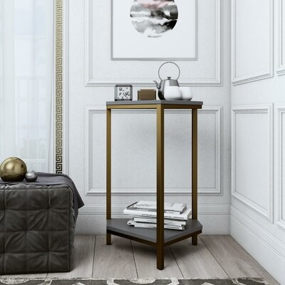 Thumbnail for your product : CosmoLiving by Cosmopolitan Scarlett End Table with Storage Table Base Color: Gold, Table Top Color: Gray