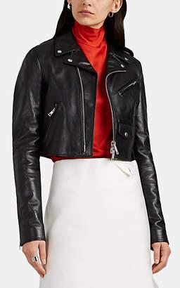Bottega Veneta Women's Leather Crop Moto Jacket - Black
