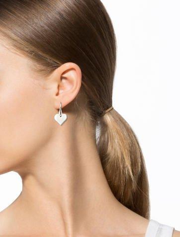 Lalique Crystal Heart Drop Earrings