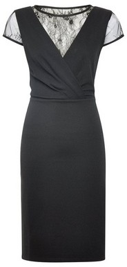 Dorothy Perkins Womens Black Lace Mix Bodycon Dress, Black