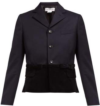 Comme des Garcons Tailored Bow Applique Wool And Velvet Jacket - Womens - Navy Black