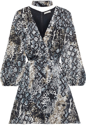 Alice + Olivia Rita Wrap-effect Snake-print Burnout Crepe De Chine Mini Dress