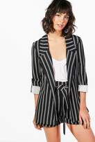 boohoo Paige Stripe Tailored Blazer black