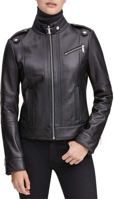Andrew Marc Rego Leather Stand Collar Moto Jacket