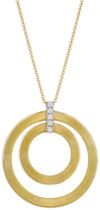 Marco Bicego Masai 18K Yellow Gold & Diamond Coil Concentric Circle Pendant Necklace