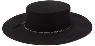 Gucci GG-ribbon Felted Wide-brim Hat - Mens - Black